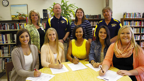 Six Lady Eagles sign lacrosse scholarships