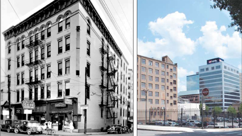 The Sprankle building at the corner of Walnut and Union in downtown Knoxville, before and after. (Photos courtesy of Whitney Manahan)