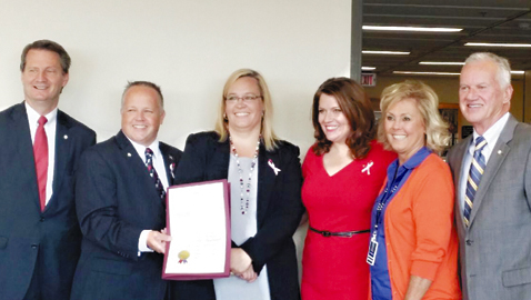 Pictured at the Kick-off of National Dyslexia Awareness Month in Knox County are, left to right, Mayor Tim Burchett, Knox County Commissioner Jeff Ownby, Knox County parent advocates Jennifer Nagel and Jules Johnson (also the founder of Decoding Dyslexia TN), School Board member Patti Bounds, and Commissioner Ed Brantley.