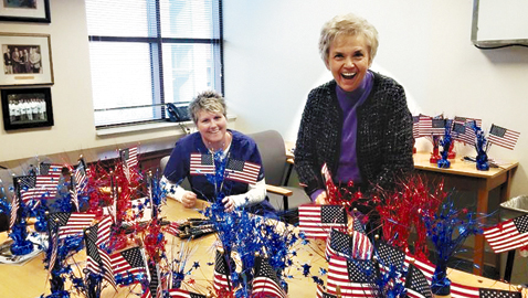 Picture of (L-R) Marcia Stinnet and Irene Hodges preparing for the veterans' breakfast. Photo by Antwan Wrancher
