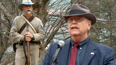 "Photo by Mike Steely Tennessee Historian Dr. Carroll Van West spoke at the dedication of ""Knoxville: A Divided City"" Civil War Trail Marker. He said that Knoxville is a leader in heritage work across the state."