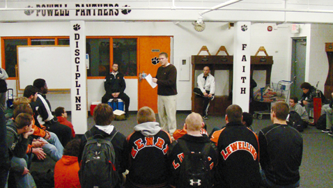 PHOTO BY STEVE WILLIAMS New head coach Rodney Ellison meets with the Powell football team for the first time Thursday, Jan. 8. He plans to bring stability to the Panthers' program.