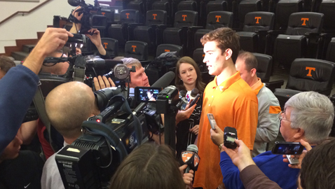 Tennessee freshman quarterback Quinten Dormady meets with the Knoxville media for the first time.  Dormady is one of ten early enrollees already on campus as part of the Vols Class of 2015.