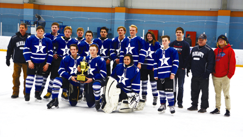 The Farragut Admirals hockey club celebrates its Moore Cup Championship Thursday night. With the win, the Admirals clinched a berth in the State Tournament in Memphis.
