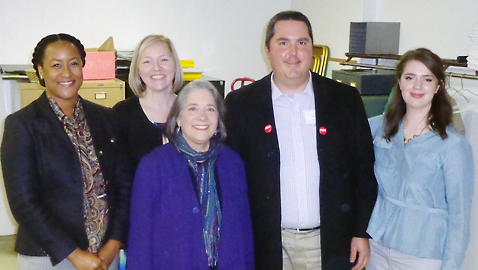 Knoxville Mayor Madeline Rogero (center) is surrounded by the new officers of the Knoxville Democratic Party. They are, left to right: Jackie Clay, Vice Chair; Shannon Webb, Treasurer; Cameron Brooks, Chairman; and Emily Gregg, Secretary. (Photo by Mike Steely)