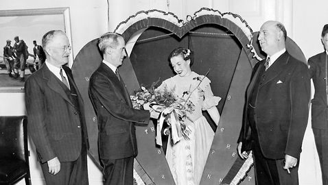 Photo from the author's personal collection. In 1936, Tennessee sent President Franklin Roosevelt a 'live' Valentine from the Fourth Congressional District.  Left to right, Dr. P. A. Lyons, President of Tennessee's State Teacher's College, Marvin McIntyre, Secretary to FDR, Miss Florence Cox, and Congressman J. Ridley Mitchell.