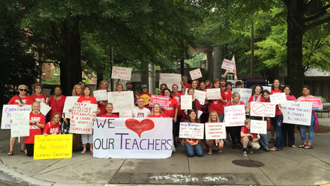 Parents, students and teachers rally in support of Non-renewed teachers.