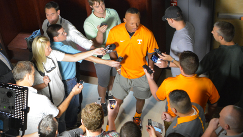Photo by Dan Andrews. UT quarterback Joshua Dobbs answers questions from the media at a press conference last week.