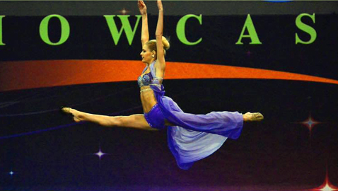 Josie Redmond takes to the air at a national dance competition.