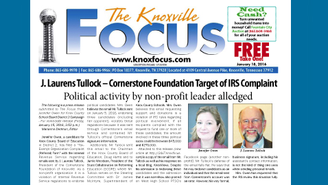 The Knoxville Focus for January 18, 2016