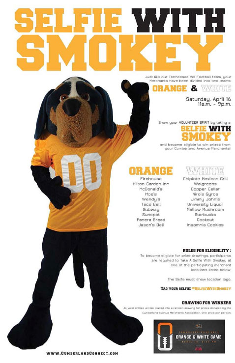 Cumberland Avenue Vol Spirit: Merchants offer 'Selfies With Smokey' during Orange and White Game