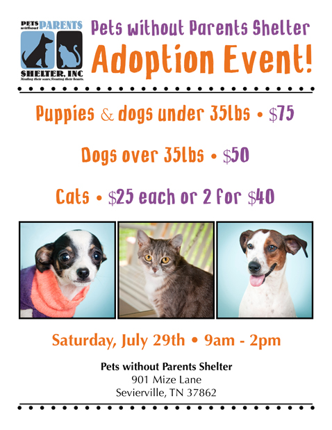 Pets Without Parents Shelter to hold Adoption Event