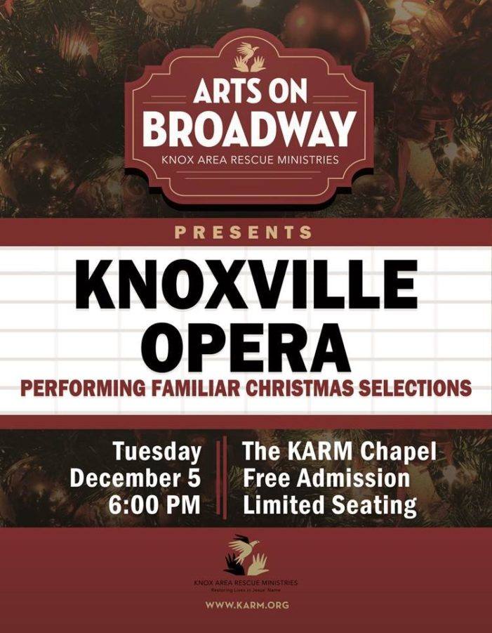 Knoxville Opera to Perform Traditional Christmas Selections at Knox Area Rescue Ministries tonight