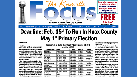 The Knoxville Focus for January 22, 2018
