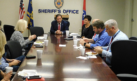 Knox County Sheriff Tom Spangler meets with media
